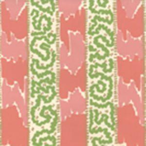 5060-06WP BIJOU STRIPE New Shrimp Greens Camel Quadrille Wallpaper