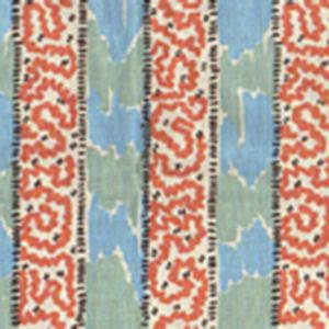 5060-01WP BIJOU STRIPE New Blue New Shrimp Quadrille Wallpaper