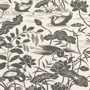BW45089-1 Heron & Lotus Flower Black White GP & J Baker Wallpaper