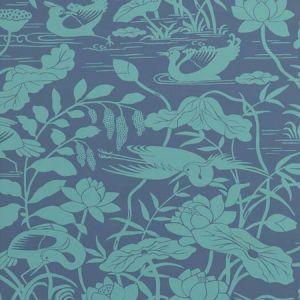 BW45089-4 Heron & Lotus Flower Teal Blue GP & J Baker Wallpaper