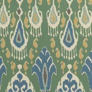 BW45090-3 IKAT BOKHARA Emerald GP & J Baker Wallpaper