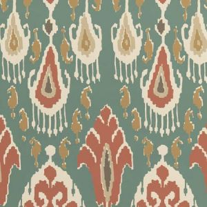 BW45090-4 IKAT BOKHARA Teal GP & J Baker Wallpaper