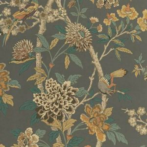 BW45091-2 HYDRANGEA BIRD Charcoal Sienna GP & J Baker Wallpaper