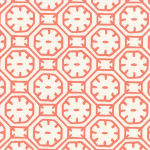 8150WP-07 CEYLON BATIK Orange On Almost White Quadrille Wallpaper