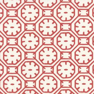 8150WP-09 CEYLON BATIK Red On Almost White Quadrille Wallpaper