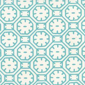 8150WP-01 CEYLON BATIK Turquoise On Almost White Quadrille Wallpaper