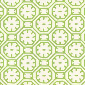 8150WP-05 CEYLON BATIK Jungle Green On Almost White Quadrille Wallpaper