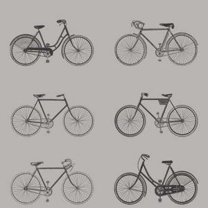 DD128502 Turnblad Bicycle Grey Brewster Wallpaper