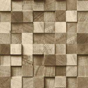 DD138529 Tevye Wood Geometric Gold Brewster Wallpaper