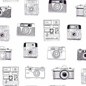 DD138843 Pinkins Retro Camera White Brewster Wallpaper