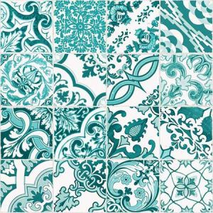 DD148635 Cohen Tile Turquoise Brewster Wallpaper