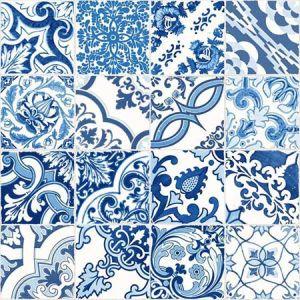 DD148636 Cohen Tile Blue Brewster Wallpaper