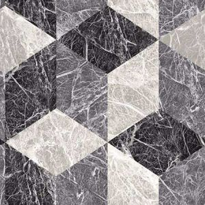 DD347318 Rizzo Geometric Stone Black Brewster Wallpaper