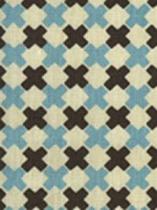 4120-14 DOUBLE CROSS New Blue with Brown Quadrille Fabric