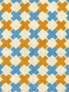 4120-01 DOUBLE CROSS New Blue with Inca Gold Quadrille Fabric