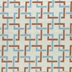 F0960/02 SEKAI Cinnabar Aqua Clarke & Clarke Fabric