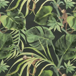 F0998/01 MONKEY BUSINESS Charcoal Clarke & Clarke Fabric
