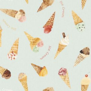 F1268/01 ICE CREAM PARLOUR Blue Clarke & Clarke Fabric