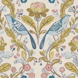F1316/05 ORCHARD BIRDS Birds Teal Blush Clarke & Clarke Fabric