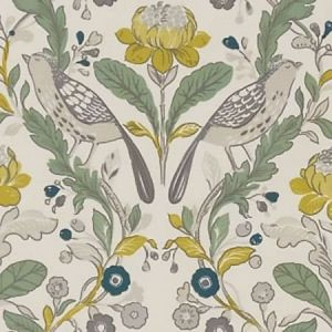 F1316/02 ORCHARD BIRDS Birds Forest Chartreuse Clarke & Clarke Fabric