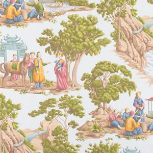 FB 0001MA29 MANDARIN TOILE Sky Old World Weavers Fabric
