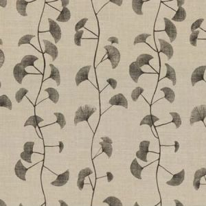 GWF-2616-118 FANS Natural Charcoal Groundworks Fabric