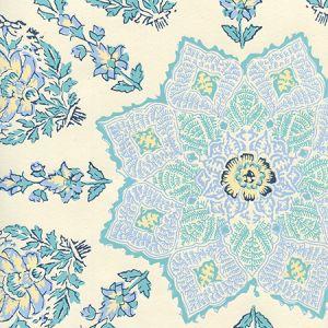 HC1490W-01WP PERSEPOLIS Celeste Blue On Off White Quadrille Wallpaper