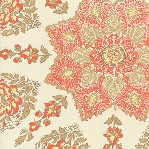 HC1490W-03WP PERSEPOLIS Melon Camel On Off White Quadrille Wallpaper