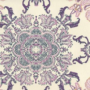 HC1980W-06OWP ISFAHAN Purple Lilac Turquoise On Off White Quadrille Wallpaper