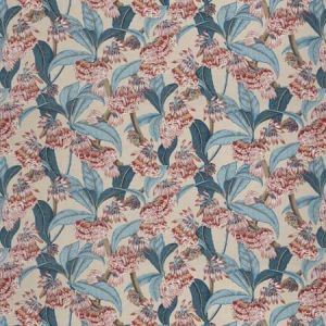 HIMALAYAN FLORAL Red Blue Vervain Fabric
