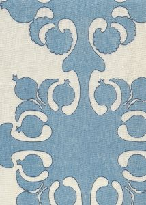 HC2000C-06 ARGENTINE Denim Blues on Cream Quadrille Fabric