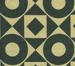 HC1370T-11 CIRCLES & SQUARES Charcoal on Tan Quadrille Fabric