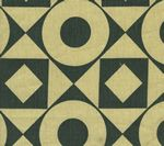 HC1400T-11 CIRCLES & SQUARES REVERSE Charcoal on Tan Quadrille Fabric