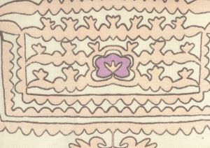 HC1990-05 CLEMENTINE Pink Purple Brown on Tint Quadrille Fabric