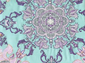 HC1980S-07SILK ISFAHAN Multi Purple Turquoise on Silk Quadrille Fabric