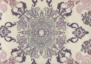 HC1980C-06 ISFAHAN Purple Lilac Turquoise on Cream Quadrille Fabric