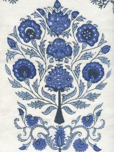 HC2015I-03 KALAMKARI ALL OVER Slate Royal Sky Denim on Ivory Quadrille Fabric