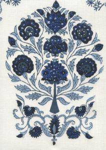 HC2015I-05 KALAMKARI ALL OVER Slate Sky Royal on Ivory Quadrille Fabric