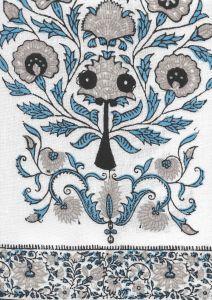 HC2010I-08 KALAMKARI BORDER Celeste Grey Charcoal on Ivory Quadrille Fabric