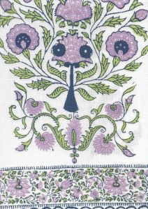 HC2010I-04 KALAMKARI BORDER Lavender Green Navy on Ivory Quadrille Fabric
