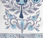 HC2010I-06 KALAMKARI BORDER Lavender Sky Navy on Ivory Quadrille Fabric