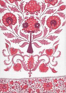 HC2010I-02 KALAMKARI BORDER Multi Reds on Ivory Quadrille Fabric