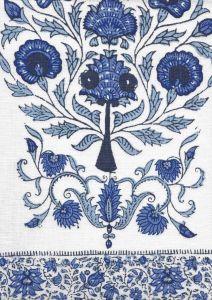 HC2010I-03 KALAMKARI BORDER Medium Blue on Ivory Quadrille Fabric