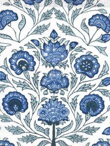 HC2020I-03 KALAMKARI FLORAL Med Blues on Ivory  Quadrille Fabric