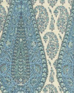 HC1950C-09 KASHMIR PAISLEY LARGE Blue on Cream Linen Quadrille Fabric