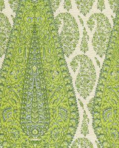 HC1950C-08 KASHMIR PAISLEY LARGE Green on Cream Linen Quadrille Fabric