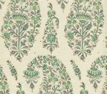 HC1955C-07 KASHMIR PAISLEY Turquoise on Cream Linen Quadrille Fabric