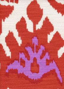 302833F KAZAK Orange Pink on Tint Quadrille Fabric