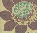 HC1260T-04 LORRAINE Lilac Turquoise on Tan Quadrille Fabric