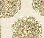 HC1700C-02 MEDALLION  Fig Taupe on Cream Quadrille Fabric